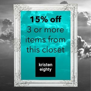 15% off 3 or more items from this closet!